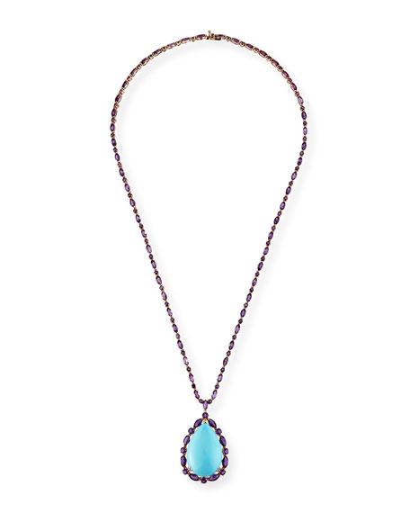 Etho Maria 18k Rose Gold Turquoise Pear Pendant Necklace w/ Amethyst