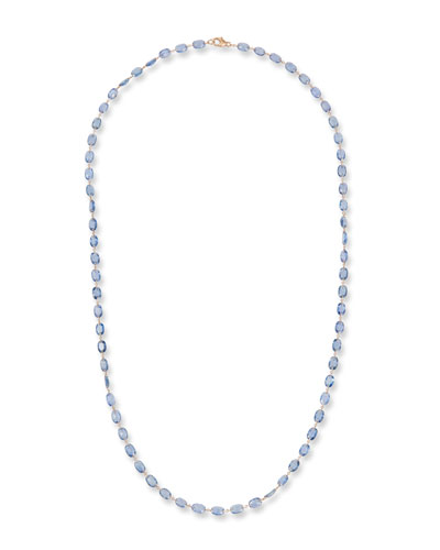 18k Rose Gold Blue Sapphire Necklace