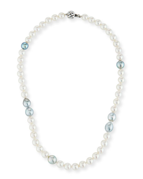 """Belpearl 18k White Gold White & Gray Pearl Necklace, 18""""L"""