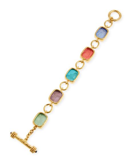 Elizabeth Locke Antiqued Animal Intaglio 19k Gold Toggle Bracelet