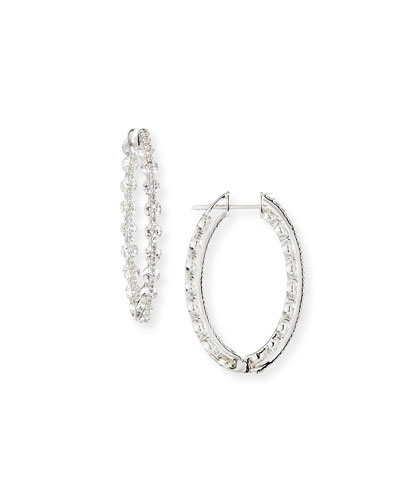 18k White Gold Diamond Hoop Earrings  5.93tcw