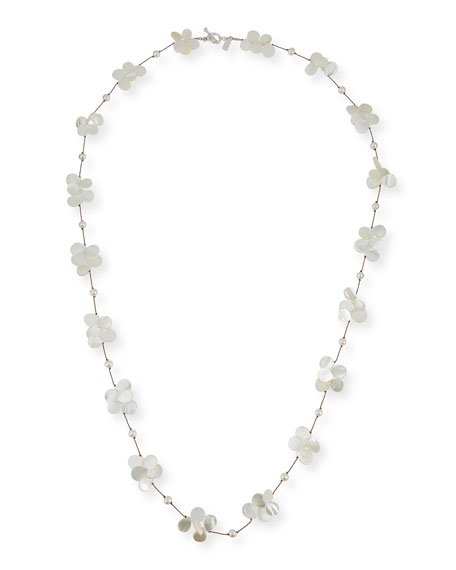 """Margo Morrison White Pearl & Mother-of-Pearl Necklace, 35""""L"""