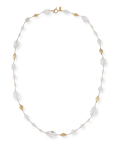 Long Pearl & Stone Necklace