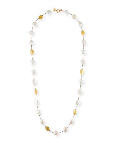 Long Baroque Pearl  Gold & Crystal Necklace