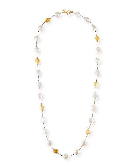 Margo Morrison Long Baroque Pearl, Gold & Crystal Necklace