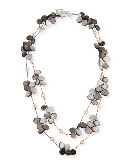 "Margo Morrison Pearl, Abalone & Mother-of-Pearl Necklace, 35""L"