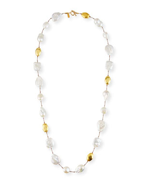 a1ecd76682e081 Margo Morrison Long Baroque Pearl & Gold Necklace
