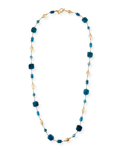 Long Apatite & Gold Bead Necklace