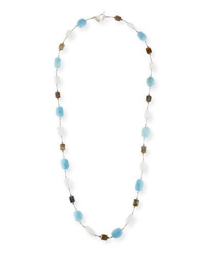 Long Aqua  Moonstone & Labradorite Necklace