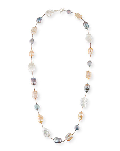 Long Multicolor Pearl-Combo Necklace