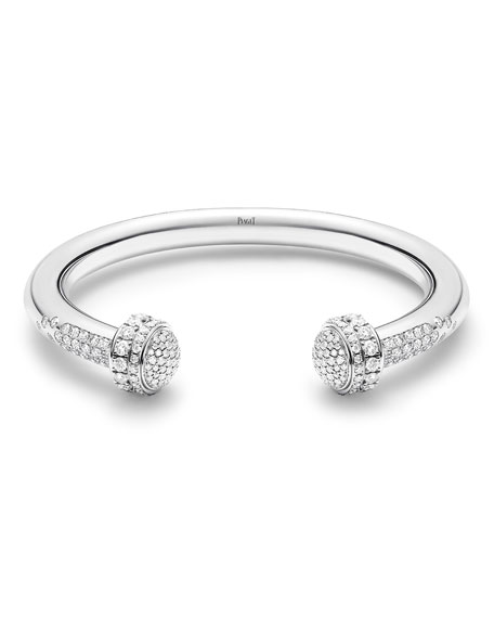 PIAGET Possession 18k White Gold Open Bangle w/ Diamonds, Size 16