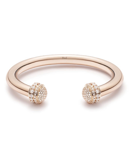 PIAGET Possession 18k Rose Gold Open Bangle w/ Diamonds, Size 16