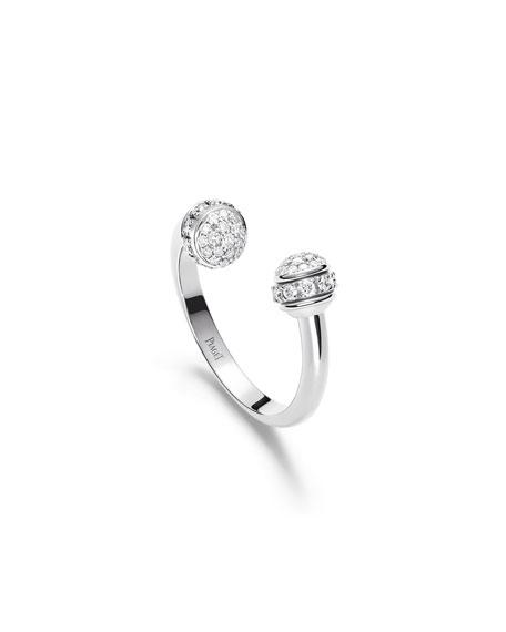 PIAGET Possession 18k White Gold Open Ring w/ Diamonds, Size 50