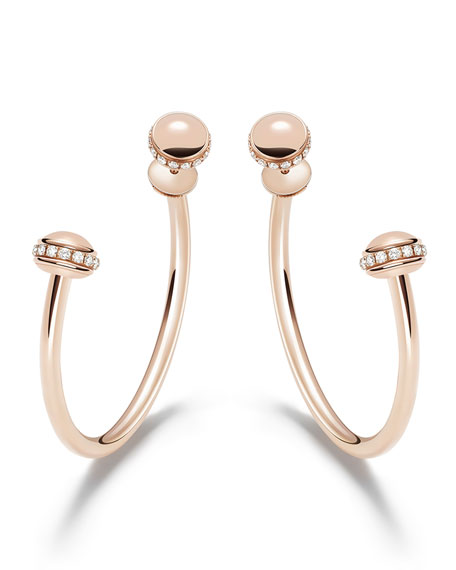 PIAGET Possession 18k Rose Gold Detachable Diamond Hoop Earrings