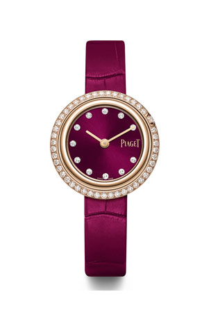 PIAGET 29mm Possession 18k Rose Gold Watch w/ Diamonds, Burgundy