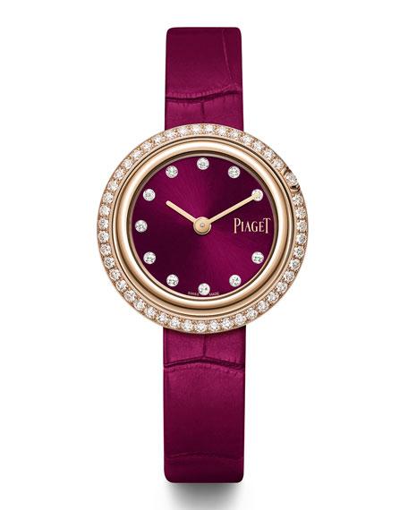 PIAGET 29mm Possession 18k Rose Gold Watch w/ Diamonds, Burgundy