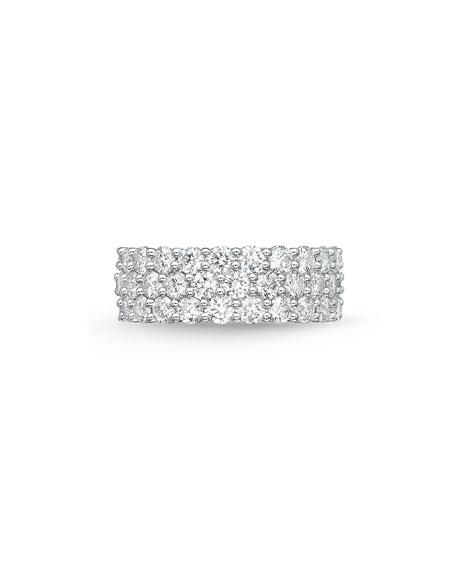 Memoire 18k White Gold Halfway 3-Row Diamond Ring, Size 6-8