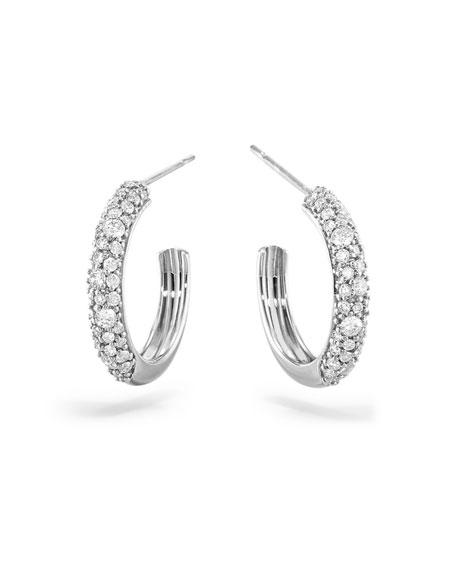 LANA 14k White Gold Thin Diamond Cluster Hoop Earrings, 15mm