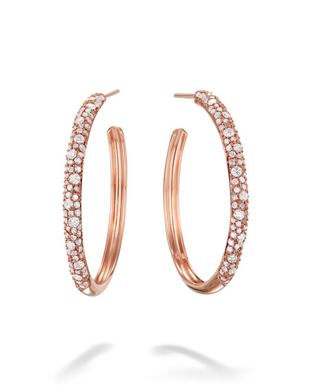 LANA 14k Rose Gold Thin Diamond Cluster Hoop Earrings, 30mm