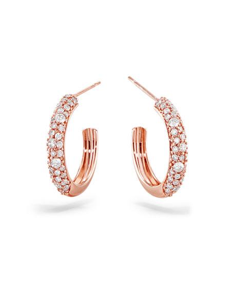 LANA 14k Rose Gold Thin Diamond Cluster Hoop Earrings, 15mm