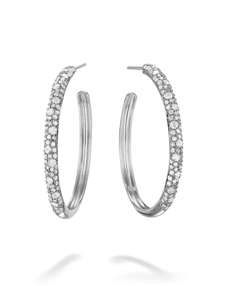 LANA 14k White Gold Thin Diamond Cluster Hoop Earrings, 30mm