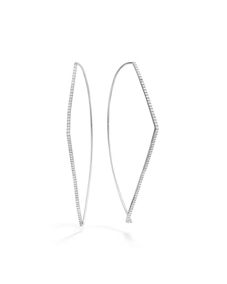 LANA 14k White Gold Diamond-Threader Earrings, 60mm