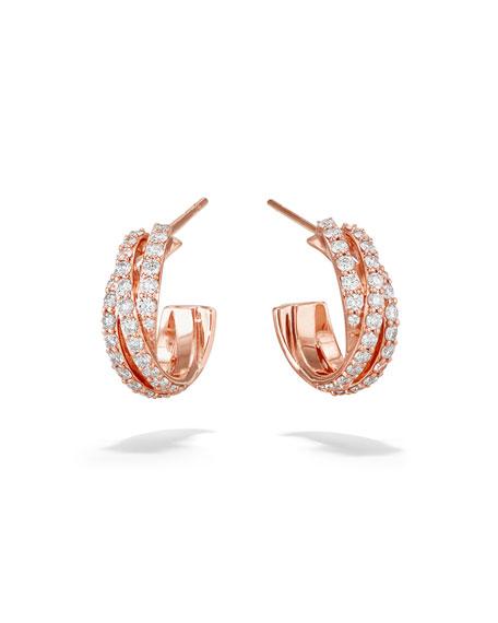 LANA Triple Crossover 14k Rose Gold Diamond Hoop Earrings, 15mm