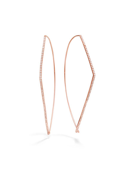 LANA 14k Rose Gold Diamond-Threader Earrings, 60mm