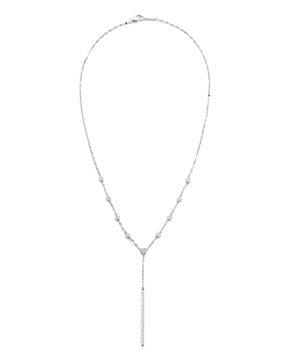 Lana Disc Chime 14k White Gold Diamond Lariat