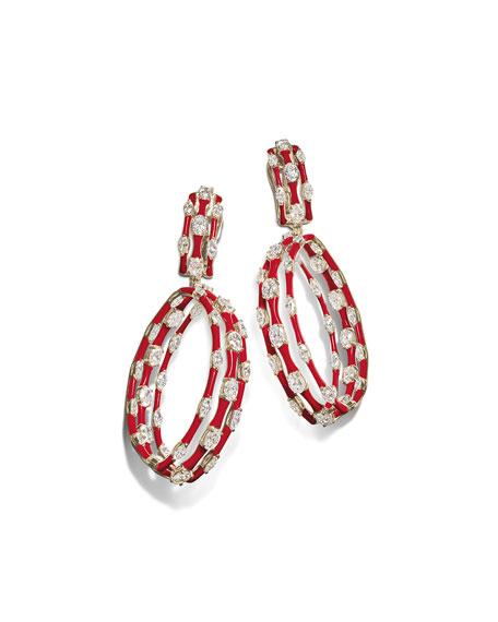 Etho Maria 18k White Gold & Red Ceramic Diamond Hoop-Drop Earrings