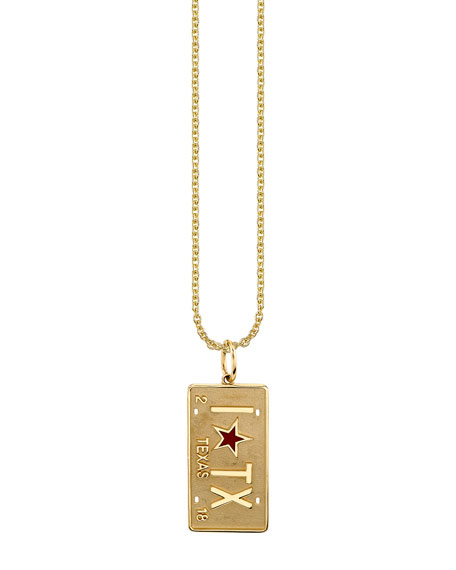 Sydney Evan 14k Texas License Plate Necklace