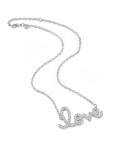 Sydney Evan 14k White Gold Extra Large Diamond Love Necklace