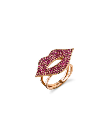 Sydney Evan 14k Rose Gold Ruby Lips Ring, Size 6.5