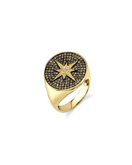 Sydney Evan 14k Diamond Starburst Signet Ring, Size 6.5