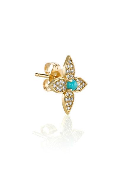 Sydney Evan 14k Paisley Diamond Flower Earring, Single