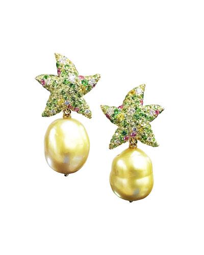18k Diamond Starfish Pearl-Drop Earrings