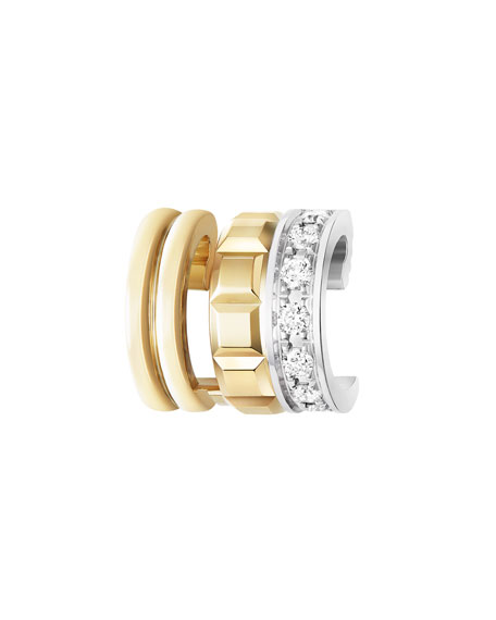 Boucheron TWO-TONE 18K QUATRE DIAMOND CLIP EARRING