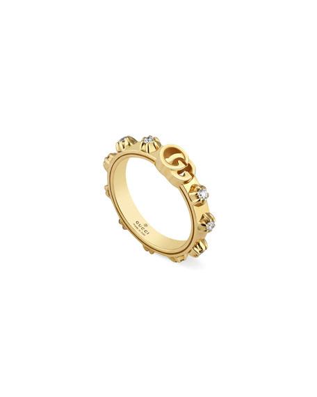 Gucci 18k GG Running Diamond Ring, Size 6.25