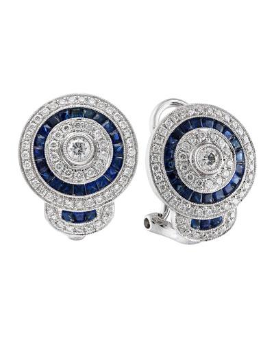 18k White Gold Diamond & Blue Sapphire Stud Earrings