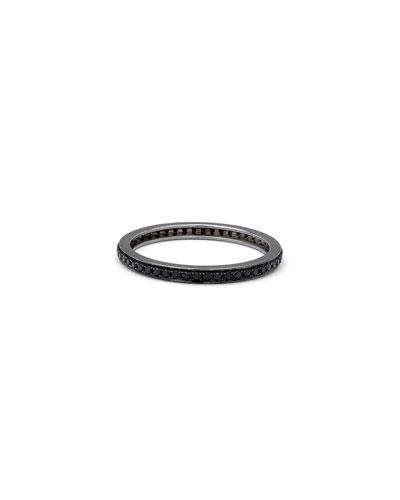 18k White Gold Black Diamond Thin Band Ring