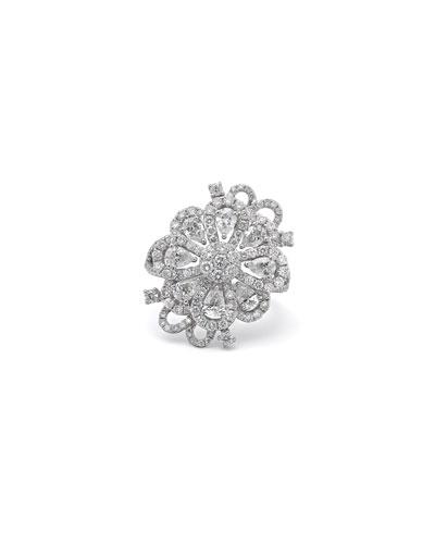 18k White Gold Floral Diamond Ring  2.94tcw