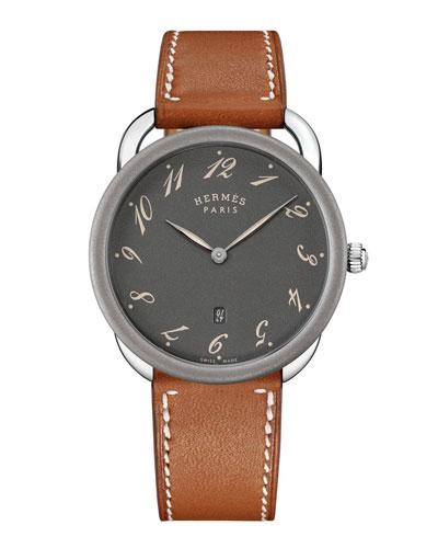 40mm Arceau Matte Watch w/ Leather Strap  Gray/Tan
