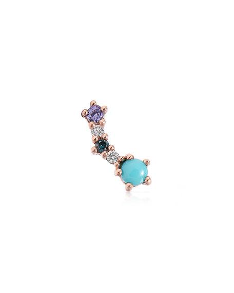 Stevie Wren 14k Rose Gold Mini Turquoise & Diamond Curved Ear Climber, Right