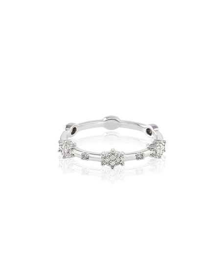 Stevie Wren 14k White Gold Diamond Starburst Ring, Size 7