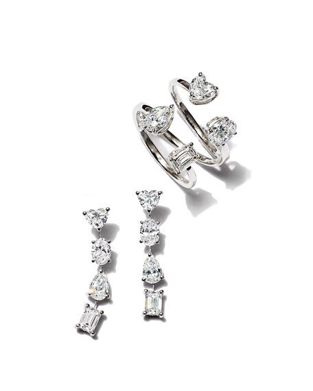 ZYDO Hope 18k White Gold Mixed-Cut 4-Diamond Ring, Size 6.75