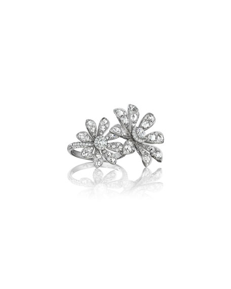 Maria Canale 18k White Gold Diamond 2-Flower Ring