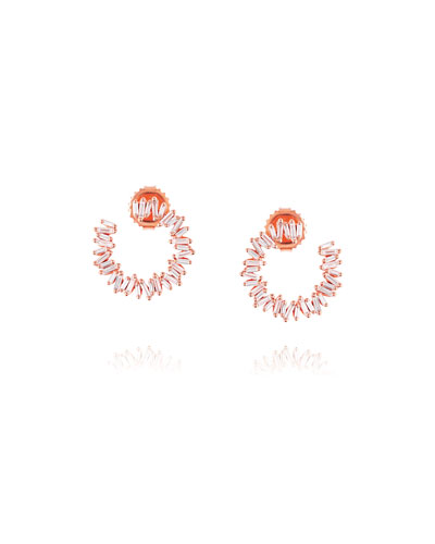 18k Rose Gold Medium Diamond Baguette Spiral Earrings