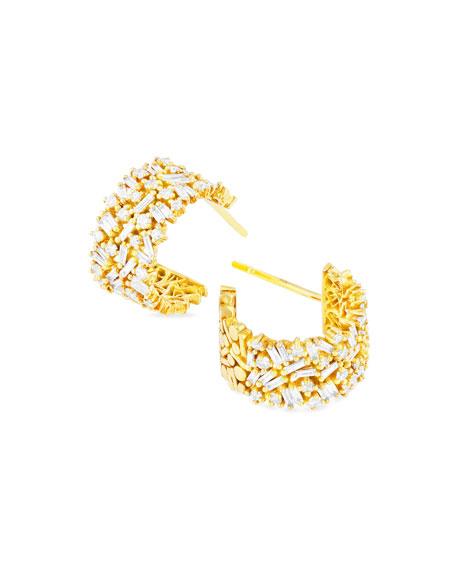 Suzanne Kalan 18k White Gold Diamond Huggie Hoop Earrings