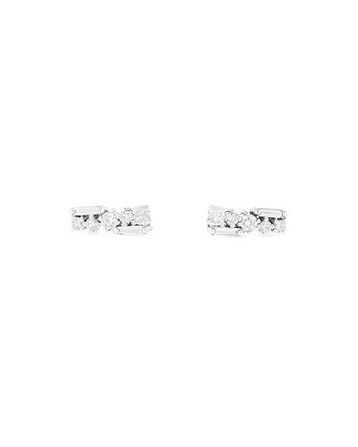 18k Rose Gold Round & Baguette Diamond Stud Earrings