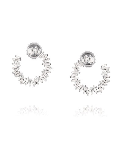 18k White Gold Medium Diamond Baguette Spiral Earrings